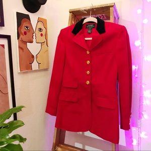 Ralph Lauren Red Wool Sailor Themed Blazer Jacket